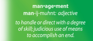 Management - to handle or direct with a degree of skill; judicious use of means to accomplish an end.